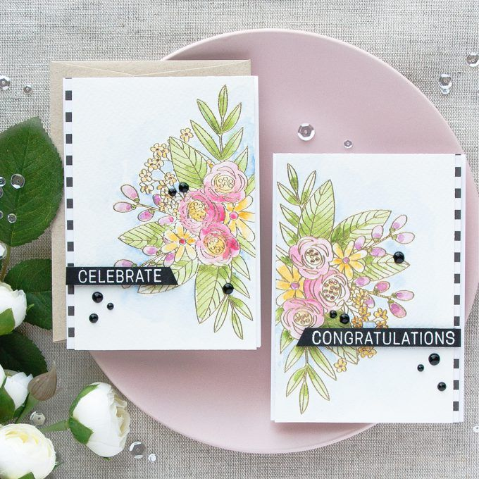 Cards by Yana Smakula using Simon Says Stamp's Floral Bliss stamp set & Daniel Smith watercolors  June 2017