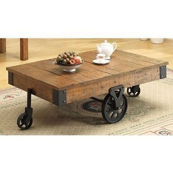 Rustic Country Style Rolling Coffee Table Wood Metal