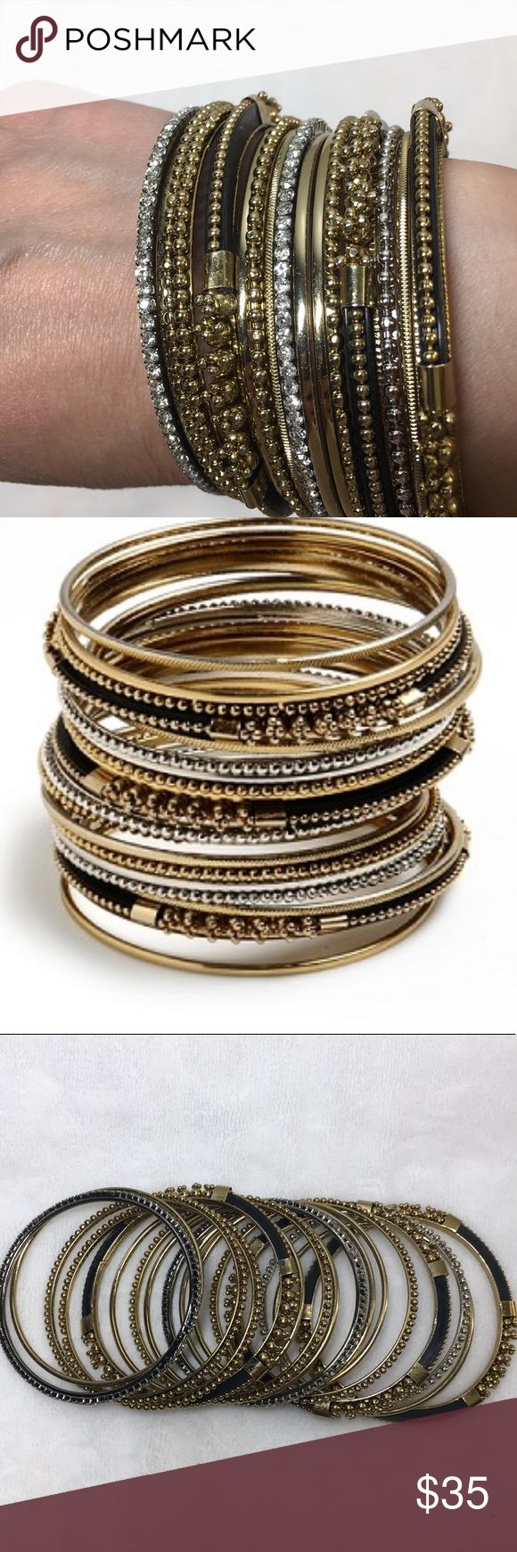 """Excellent Condition Bangle Bangle by Amrita Singh Excellent Condition, worn 1x So gorgeous CHENNAI 15 PIECE BANGLE SET HARD TO FIND SET AMRITA SINGH They are gold/silver over brass beaded edge bracelets with black accents. Beautiful!  These are size 6"""". Amrita Singh Jewelry Bracelets"""