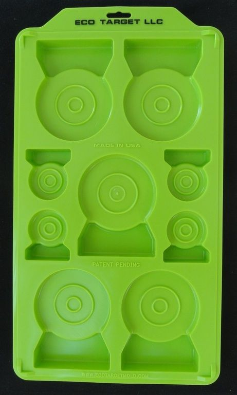 Fill tray with water and freeze. Pop out the targets and shoot away. Leaves no mess and waters the yard at the same time. The bases are large enough to stand up on there own.