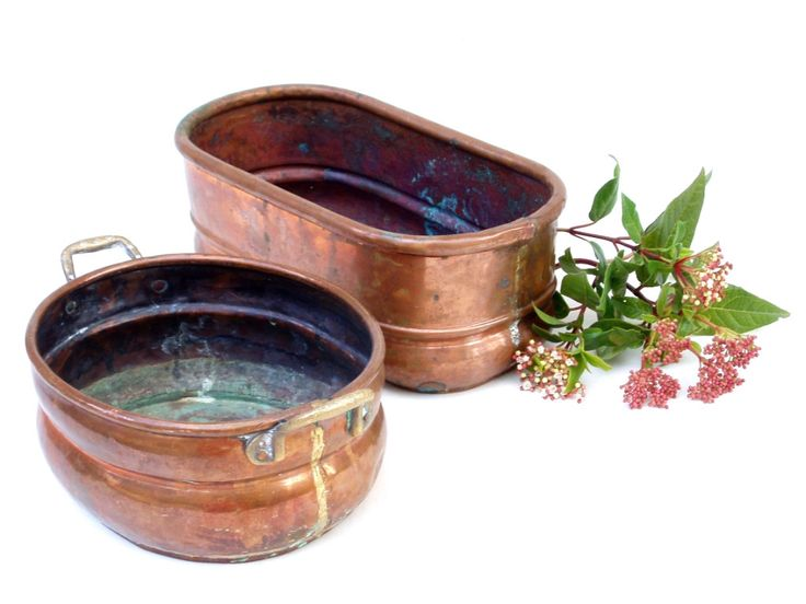 2 FRENCH COPPER Planters Jardiniere Antique Garden Planters For Window Box  Windowsill French Country Farmhouse Cottage