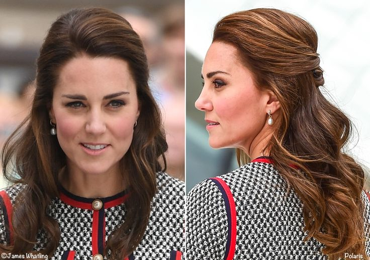 The Duchess usually lets her brunette locks flow around her shoulders, but today she wore her hair swept back in a half up do.
