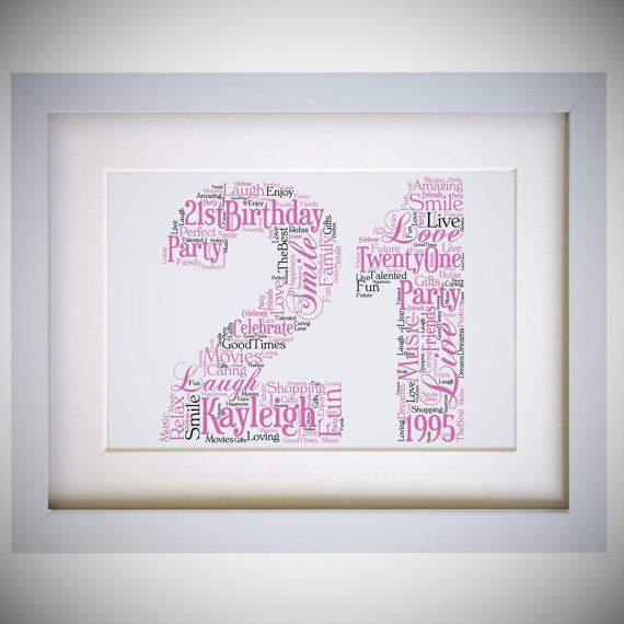 Personalised 21st Age Number Birthday Framed Word by VioletGraceUK