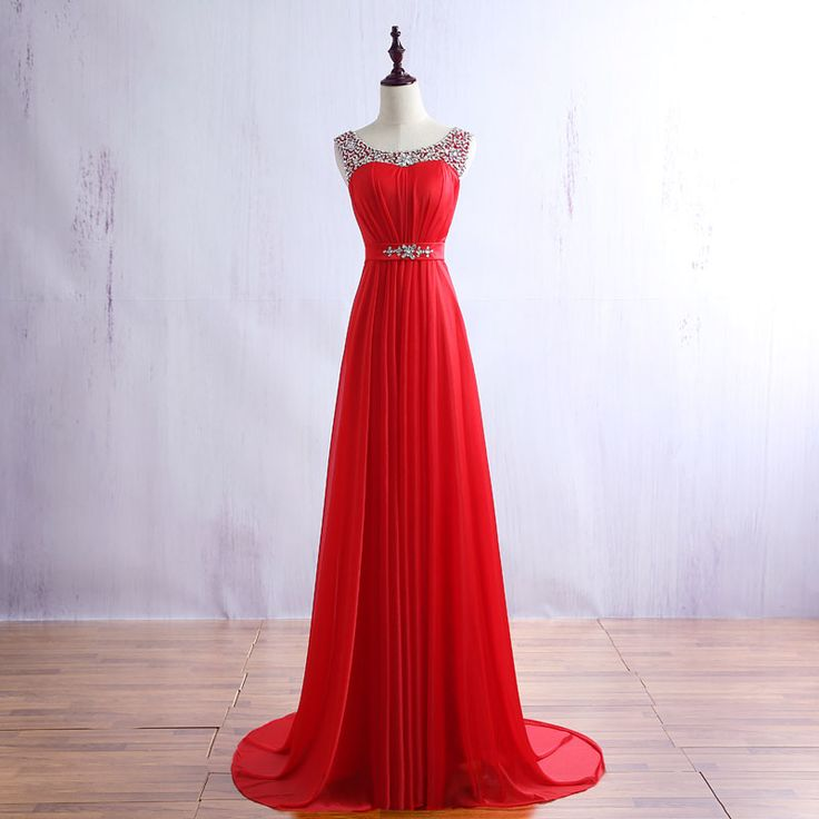 Real Photos Red Prom Dresses Long 2017 A-Line