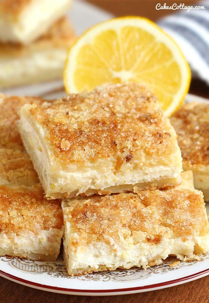 Easy Lemon Cream Cheese Bars | Cakescottage