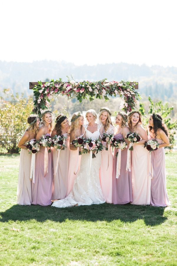The prettiest bridesmaid photo: http://www.stylemepretty.com/oregon-weddings/west-linn/2016/04/05/an-1887-farmhouse-played-host-to-this-rustic-garden-wedding/ | Photography: Sweetlife Photography - http://www.lovethesweetlife.com/