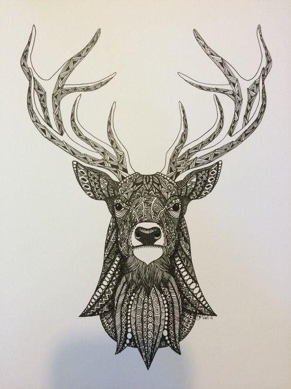 Zentangle Deer Art Print By TangledDownSouth On Etsy