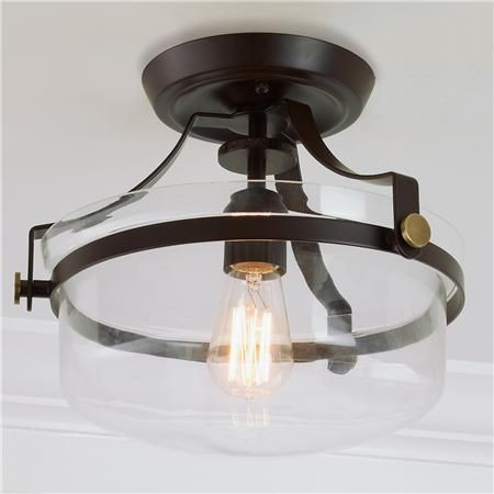 Modern Metal Strap Semi-Flush Ceiling Light