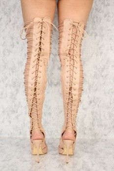 d899cb3a7df Sexy Rose Gold Strappy Thigh High Single Sole High Heels Metallic Faux  Leather