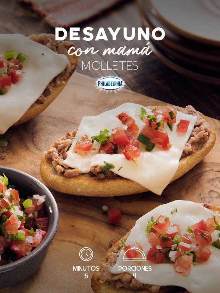Un desayuno junto a los que más quieres se disfruta mejor con unos Molletes. #recetas #receta #quesophiladelphia #philadelphia #crema #quesocrema #queso #molletes #desayuno #almuerzo #comida #cocinar #molletes #picante #jitomate #frijoles #cocinamexicana #desayunos #recetasfáciles