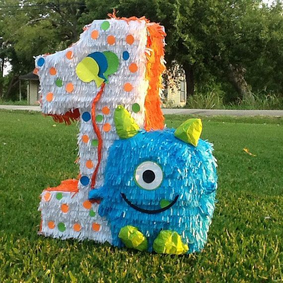Monster pinata number pinata 2ft number birthday by for Number 1 decorations