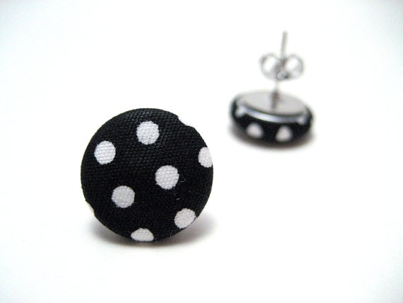 POLKA DOT Studs - Black and white polka dot fabric on hypoallergenic post earrings studs modern rockabilly    $3.00