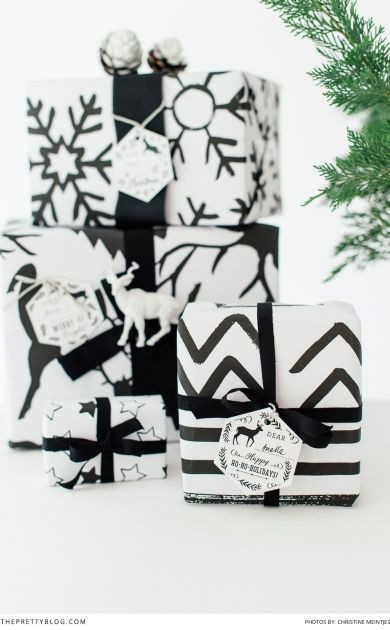 FREE printable Christmas wrapping paper | Have yourself a black and white Christmas on www.theprettyblog... | Gift Wrapping paper design: @brandsusan  | Photography: @cmeintjes  |