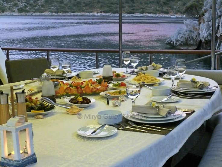 dinners are a relaxing social occassion on gulet holidays, with unbeatable views. you can either enjoy it casual or dress up for the night and savor the many superb dishes from the galley