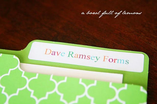 Dave Ramsey Forms  Creating a Budget Box