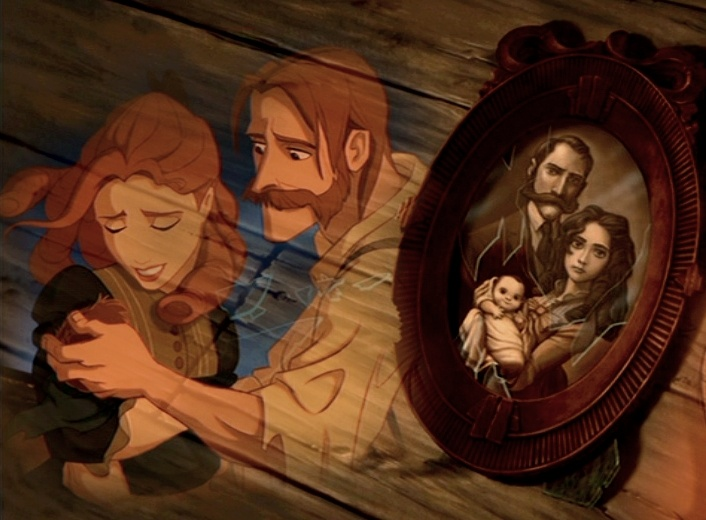 Tarzan's parents are also Elsa's parents they were going to a wedding in Frozen, the couple  was blown off course and shipwrecked. They got washed up on a shore in a jungle island. The queen gave birth to a baby boy. They build a treehouse. They get killed by a leopard
