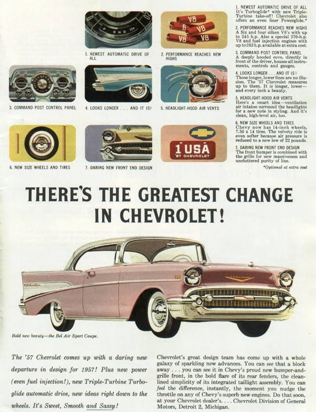 Magazine ad for the '57 Chevrolet Bel-Air.