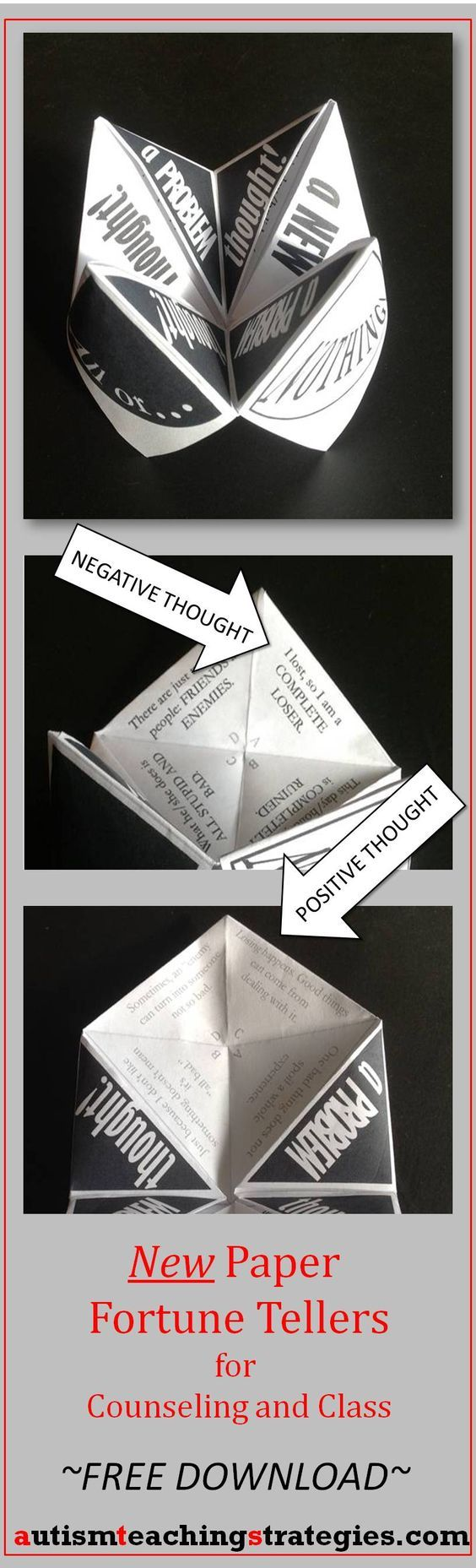 "This Paper Fortune Teller, one of a new set of 3, helps children to learn about ""All or Nothing Thinking,"" a style of thinking that leads to many upsetting emotions. Tags: cognitive behavioral therapy, children, game, counseling."