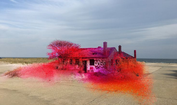 "A rendering of Katharina Grosse's ""Rockaway!,"" which involves Fort Tilden's decaying aquatics building in Queens"