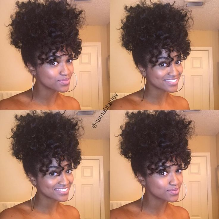 """By @itsmebfairley Ponytail & Bangs ❤️ (From twist out/perm rods)"""