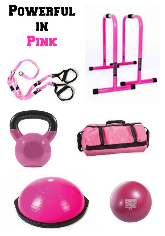 Wild Workout Wednesday: Powerful in Pink Fitness Equipment   The Fit Foodie Mama  Pink TRX, Pink Equalizers, Pink Kettlebell, Pink Sandbag, Pink BOSU, Pink Med Ball