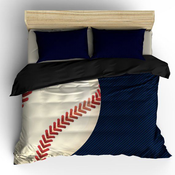 Navy And Black Baseball Theme Bedding Available Twin Etsy In 2020 Baseball Theme Bedding Baseball Bed Baseball Bedroom