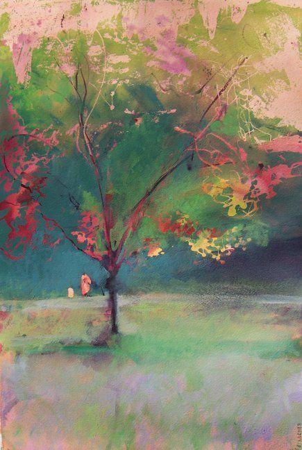 "Saatchi Online Artist: Jon Wassom; ""Tree and Figures"""