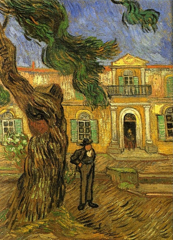 Vincent van Gogh (Dutch, Post-Impressionism, 1853-1890): Pine Trees with Figure in the Garden of Saint Paul Hospital, 1889. Place of creation: Saint-rémy-blanzy, France.
