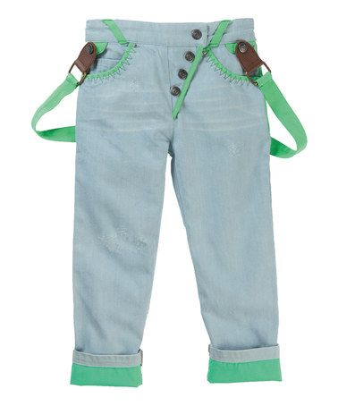 Look what I found on #zulily! Light Blue & Green Braces Pants - Toddler & Boys by Vicious Wear #zulilyfinds
