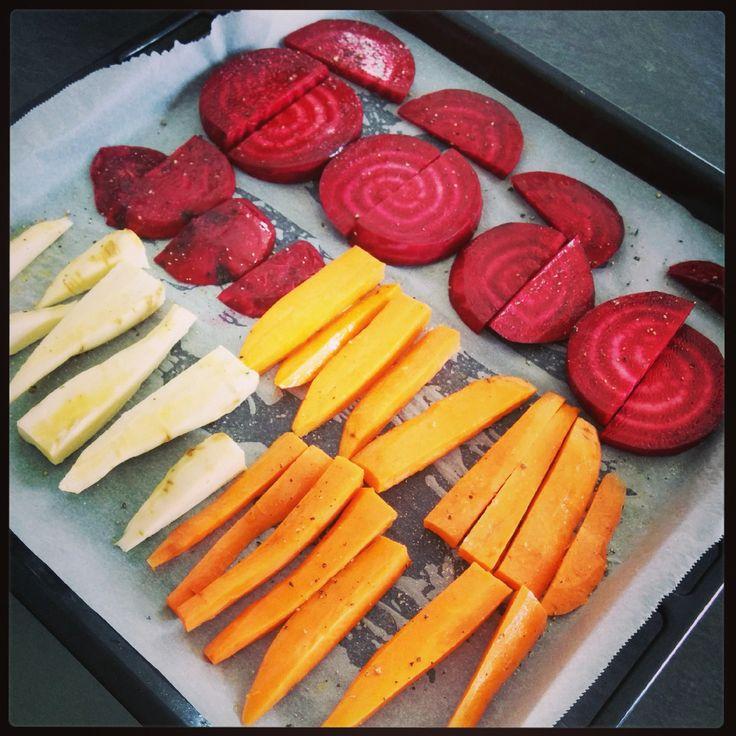Panais, carottes et betterave rôtis