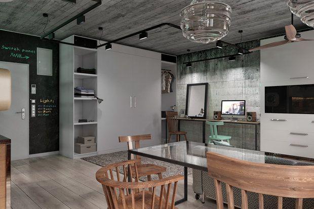 Найти место в студии для полноценного спального места, домашнего офиса и гостиной-столовой – легко! Роман Плюснин сделал ставку на зоны-трансформеры и поделился опытом с InMyRoom