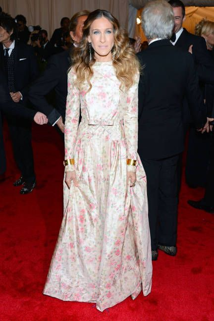 May 7, 2012  The star picks a floral Valentino gown and gold cuffs for the 2012 Metropolitan Museum of Art's Costume Institute Gala.