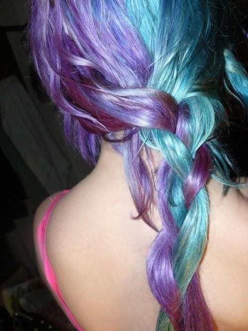 I wouldn't, but it sure is pretty!Rainbows Hair, Purple Hair, Hair Colors, Mermaid Hair, Teal Hair, Braids, Lights Blue Hair, Hair Style, Colors Hair