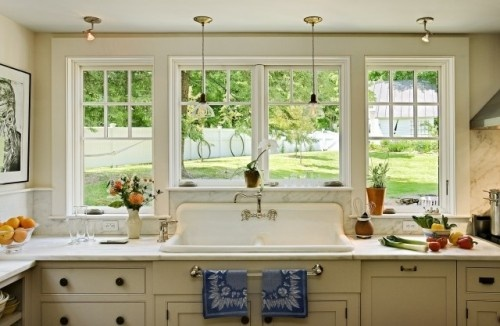 better look at how the windows were designed around the sink. The countertops and backsplash are local Vermont Danby marble.