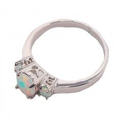 Sterling Silver Opal Trinity Ring