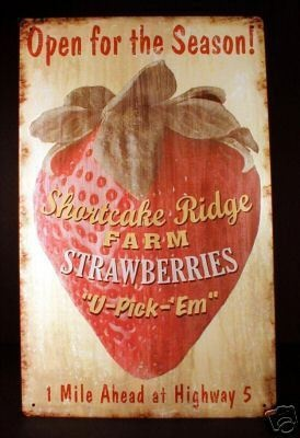Strawberry Sign  { have this on my kitchen wall
