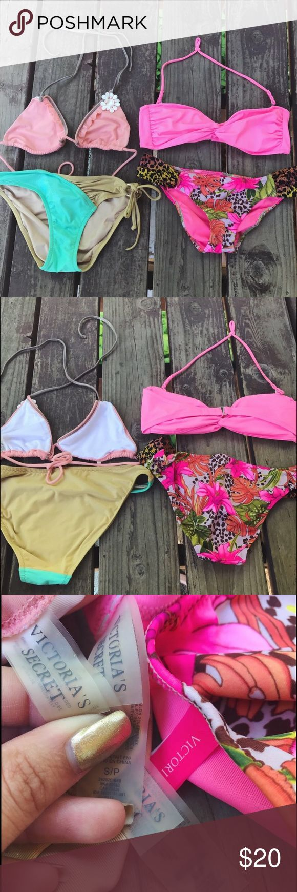 🌿 VS Bikini Set 🌿🍒 VS BIKINI SET 🌿🍒  ••• adorbs VS bikinis. string tops. both size small. no flaws or stains. pre loved and washed. victoria's secret brand. •••  #victoriassecret #swimwear #swimsuit #bikini #set #depopfamous  💓 Bundle & Save! 💓 No trades! 💓 Check out my closet for more! Victoria's Secret Swim Bikinis