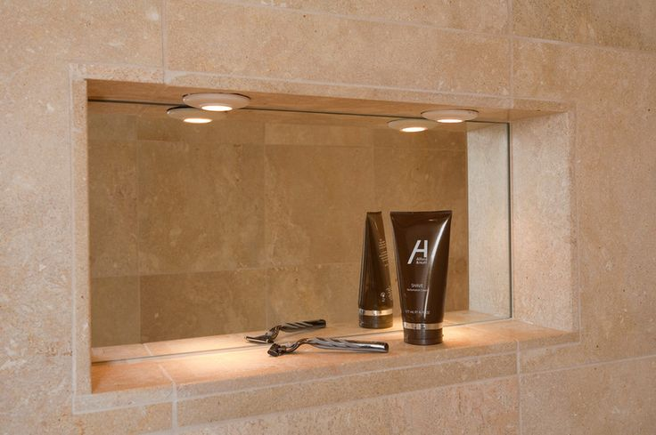 proper lighting, a fog-free mirror and a place for a razor and shaving cream.