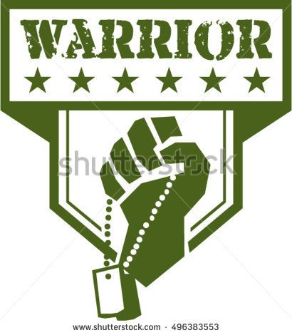 Illustration of a hand of a soldier clutching holding dogtag viewed from front set inside shield crest with stars and the word text Warrior done in retro style.   #memorialday #retro #illustration