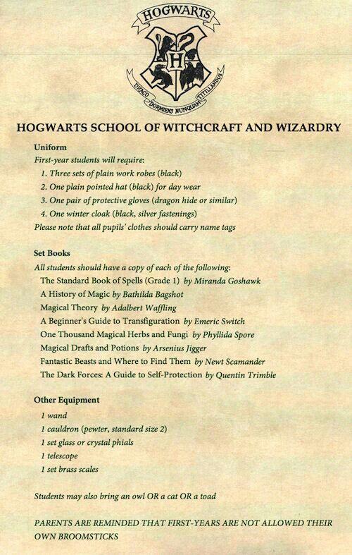 Get your stuff for hogwarts you start in september