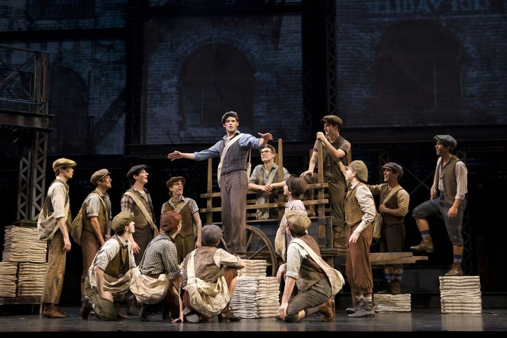 Jeremy Jordan (Jack Kelly) and the Newsies, Newsies at Paper Mill Playhouse (Photo by T. Charles Erickson/Paper Mill Playhouse)