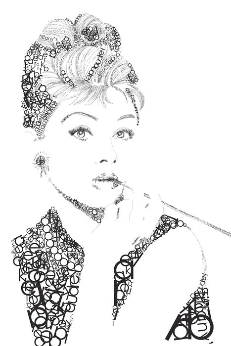Typography portrait.The little black dress is great. But Audrey looks best in Century Gothic.