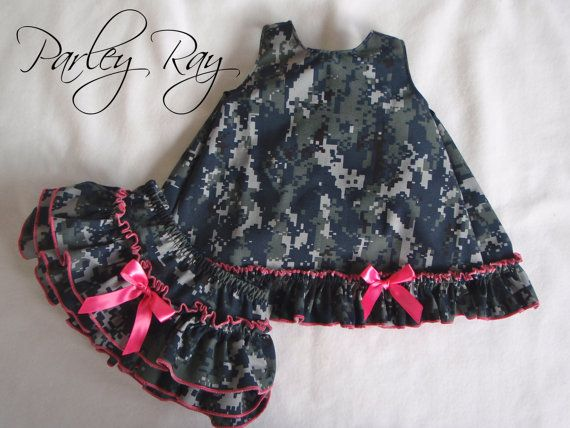 Parley Ray Daddy's Girl US Navy Digital Camouflage Ruffled Pinafore and Baby Bloomers