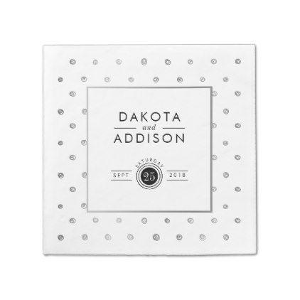 #elegant - #Elegant White & Silver Polka Dots Wedding Paper Napkin