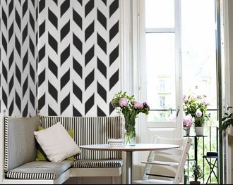 stencilDining Room, Breakfast Nooks, Black And White, Small Kitchens, Wall Decal, Black White, Kitchens Nooks, Dining Nooks, Wall Stencils