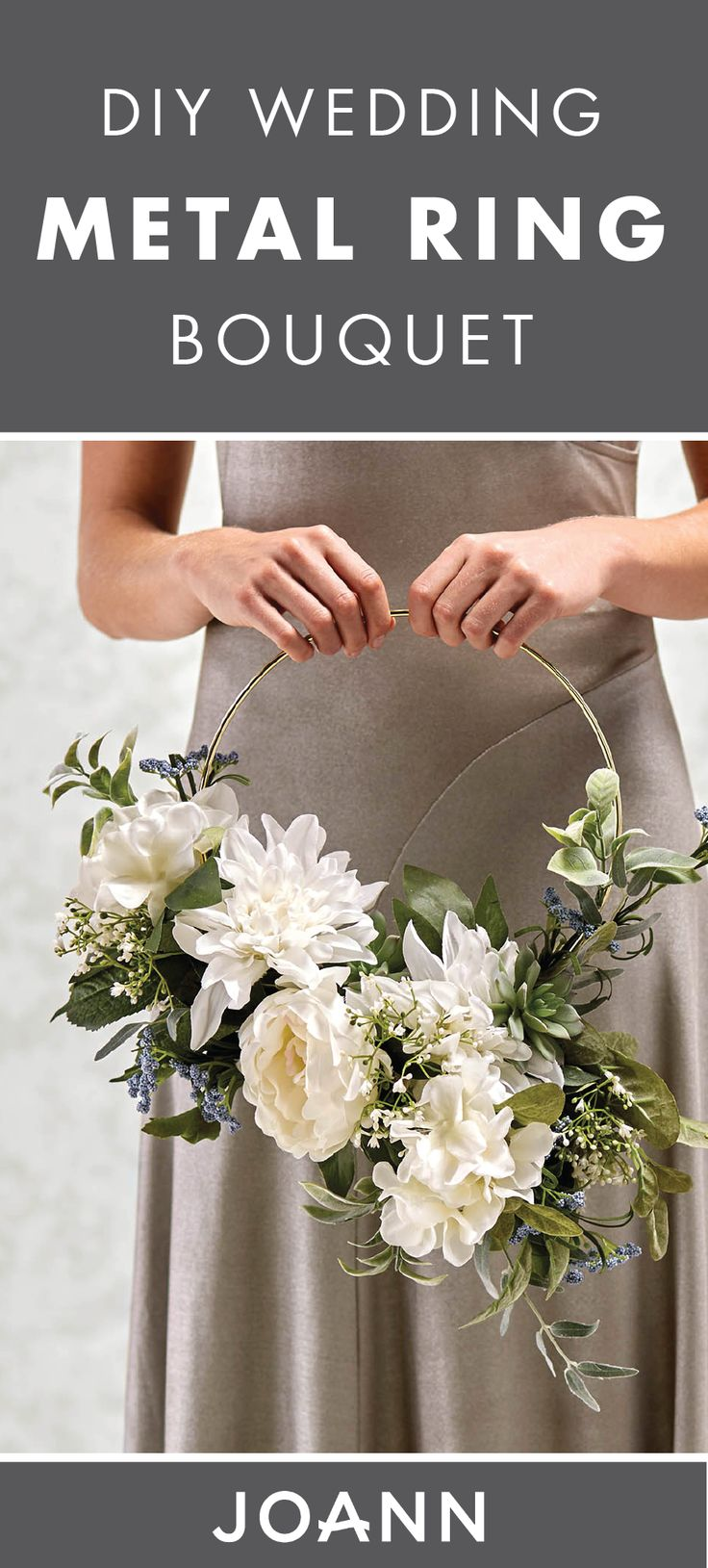 Spring flowers are blossoming all around your garden. This season, capture the outdoors for your bridesmaid's bouquets with this DIY Wedding Metal Ring Bouquet  from JOANN. Whether you're looking to make your own DIY wreaths or floral arrangements, this craft is sure to bring you that modern feel.