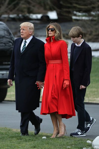Melania Trump Photos Photos - U.S. President Donald Trump, first lady Melania Trump and their son Barron Trump depart the White House March 17, 2017 in Washington, DC. The first family is scheduled to spend the weekend at their Mar-a-Lago Club in Palm Beach, Florida. - President Trump, First Lady, And Son Baron Depart White House En Route To Mar-a-Lago For Weekend