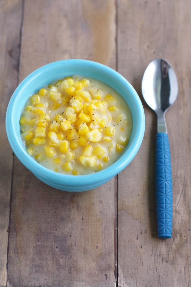 A super easy and delicious recipe for creamed corn. This tasty side dish is vegan and gluten free and everyone LOVES it!