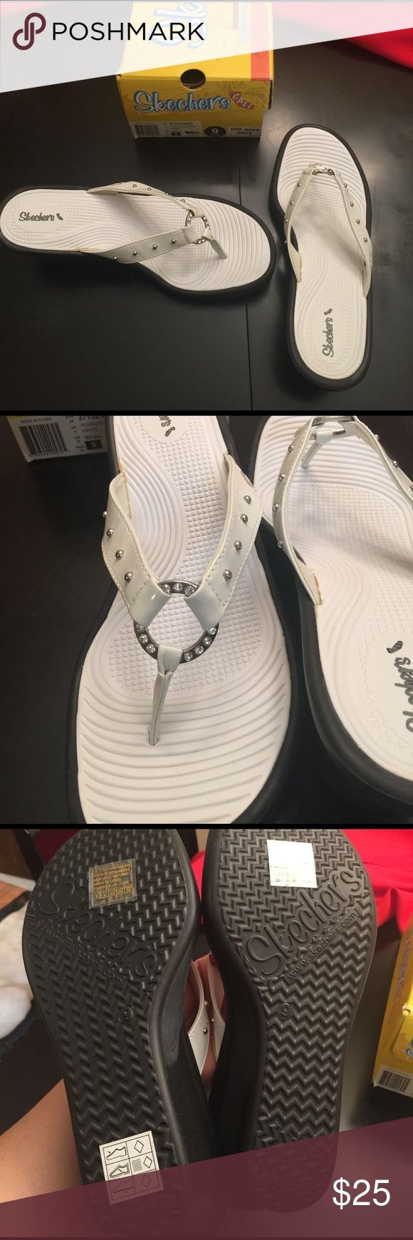 White Skechers wedge sandals Whit with black wedge sandals by sketchers. Rhinestones and stud details. Size 9. NWT Skechers Shoes Sandals