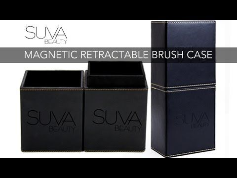 Innovation at its finest with the introduction of the very FIRST of its kind Magnetic Retractable Brush Case. SUVA Beauty is the innovator behind this unique brush case designed and developed by Shaina Azad in Canada.   The key features to this case are the built in sleeve which pulls up so you can easily close your case without destroying your brush hairs. Also the sleek and functional design of the strong magnetic closing system which means no bulky side clips.